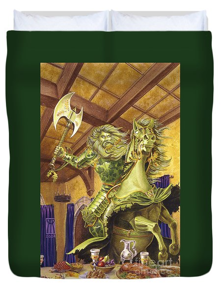 The Green Knight Duvet Cover by Melissa A Benson