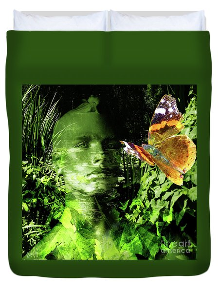 Duvet Cover featuring the photograph The Green Man by LemonArt Photography