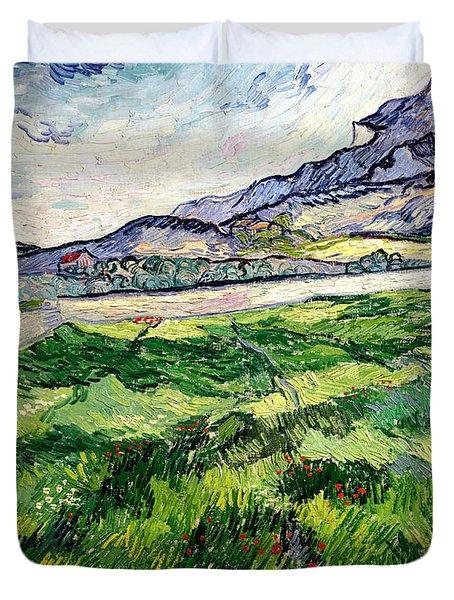 The Green Wheatfield Behind The Asylum Duvet Cover by Vincent van Gogh