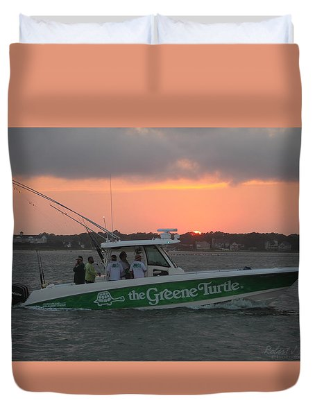 The Greene Turtle Power Boat Duvet Cover