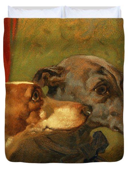 The Greyhounds Charley And Jimmy In An Interior Duvet Cover by John Frederick Herring Snr