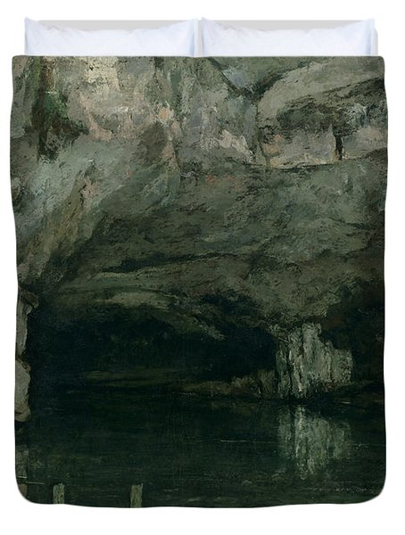 The Grotto Of The Loue Duvet Cover by Gustave Courbet