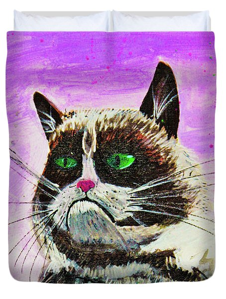 Duvet Cover featuring the painting The Grumpy Cat From The Internets by eVol i