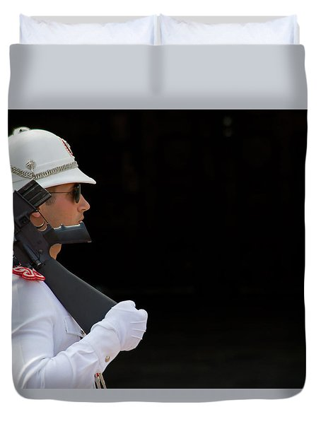 Duvet Cover featuring the photograph The Guard by Keith Armstrong