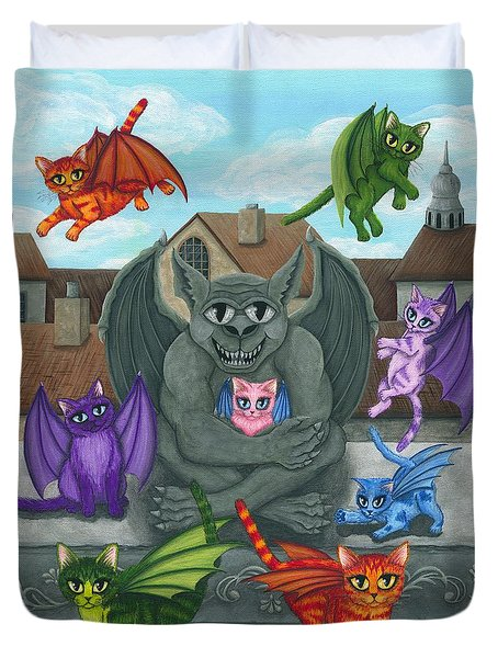 Duvet Cover featuring the painting The Guardian Gargoyle Aka The Kitten Sitter by Carrie Hawks