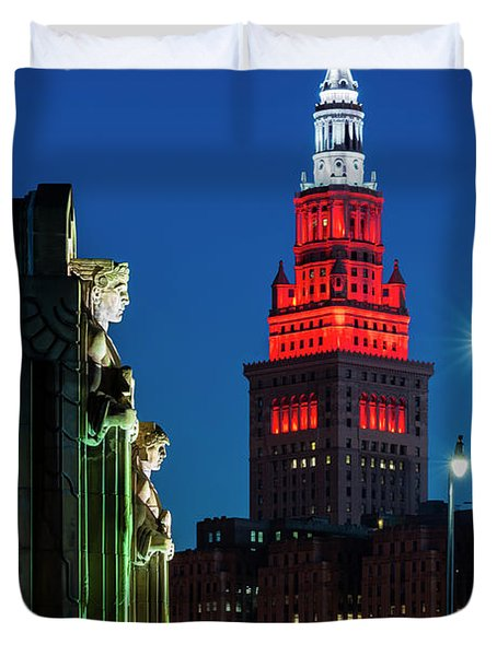 The Guardians And Terminal Tower Duvet Cover