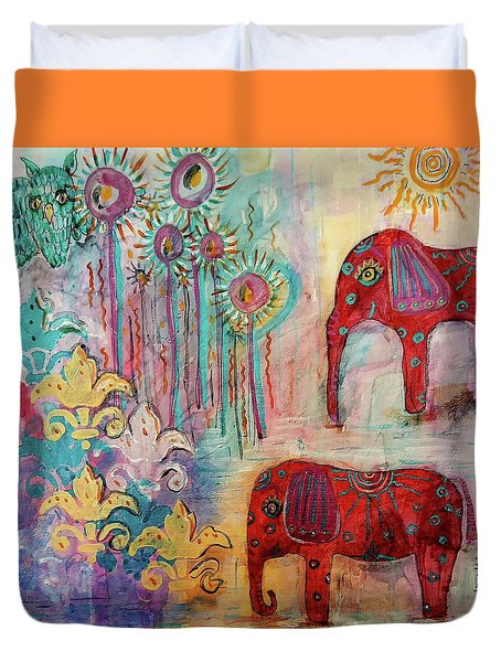 Duvet Cover featuring the mixed media The Guardians Of Night And Day by Mimulux patricia no No