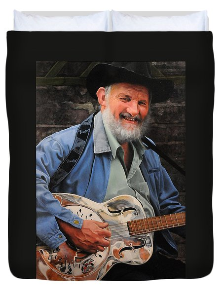 The Guitar Player Duvet Cover