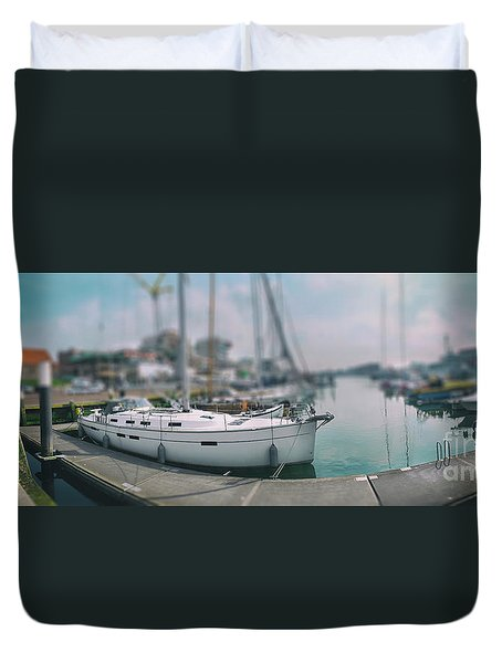 Duvet Cover featuring the photograph the Hague local harbor by Ariadna De Raadt