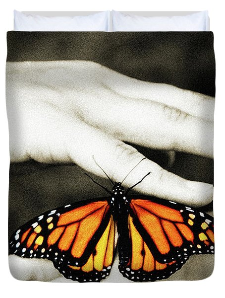 The Hands And The Butterfly Duvet Cover by Andee Design