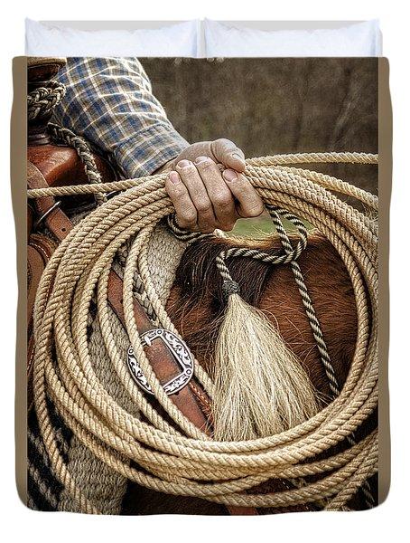 The Hands Of A Cowboy Duvet Cover by Greg Mimbs