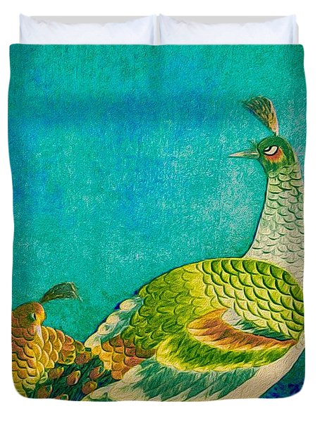 The Handsome Peacock - Kimono Series Duvet Cover
