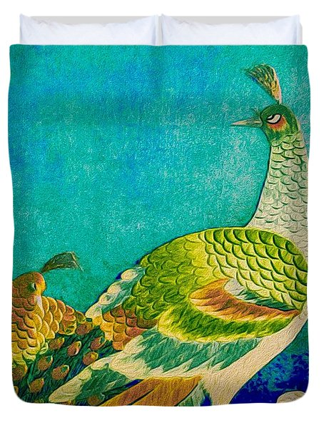 The Handsome Peacock - Kimono Series Duvet Cover by Susan Maxwell Schmidt