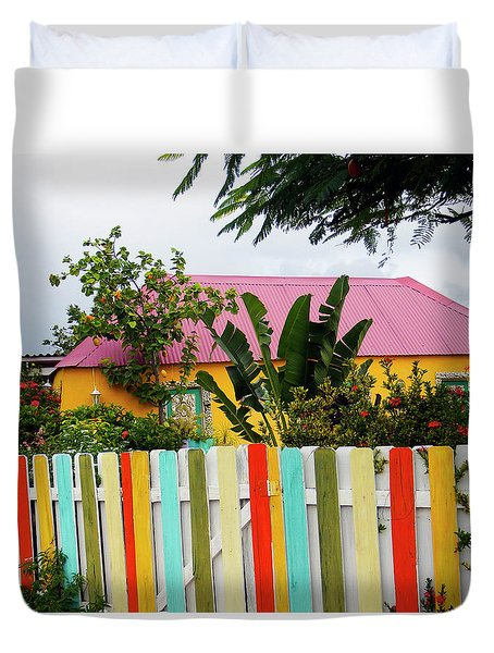 Duvet Cover featuring the photograph The Happy House, Island Of Curacao by Kurt Van Wagner