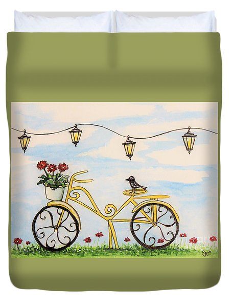 Duvet Cover featuring the painting The Happy Yellow Bicycle by Elizabeth Robinette Tyndall