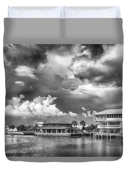 Duvet Cover featuring the photograph The Harbor by Howard Salmon