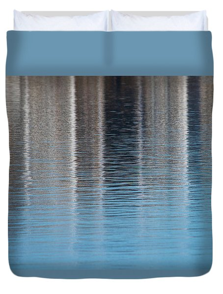 Duvet Cover featuring the photograph The Harbor Reflects by Karol Livote
