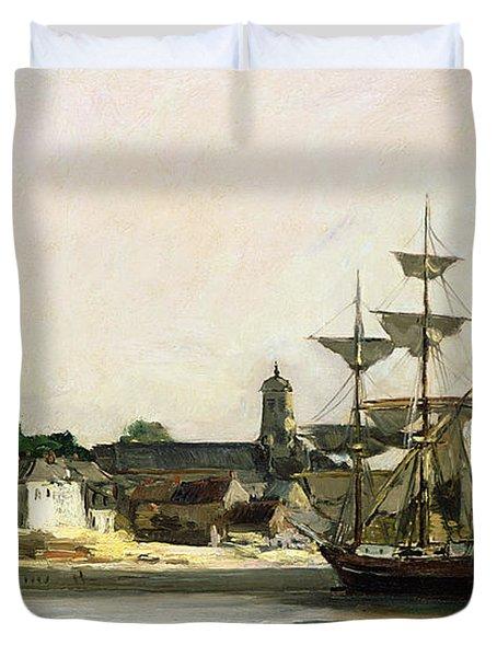 The Harbour At Honfleur Duvet Cover by Karl Pierre Daubigny