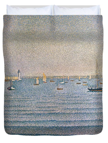 The Harbour At Portrieux Duvet Cover by Paul Signac