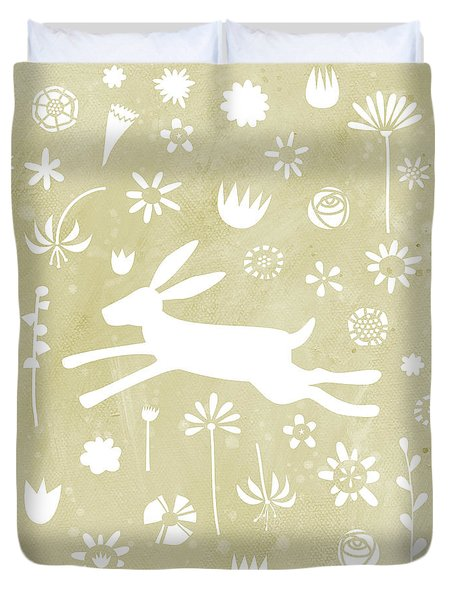The Hare In The Meadow Duvet Cover by Nic Squirrell