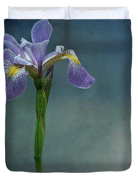 The Harlem Meer Iris Duvet Cover by Chris Lord