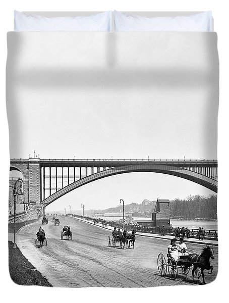 The Harlem River Speedway Duvet Cover by William Henry jackson