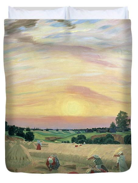 The Harvest Duvet Cover by Boris Mikhailovich Kustodiev