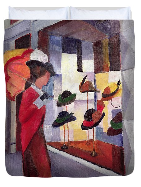 The Hat Shop Duvet Cover by August Macke
