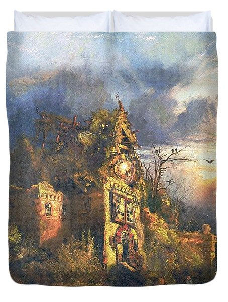 The Haunted House Duvet Cover by Thomas Moran