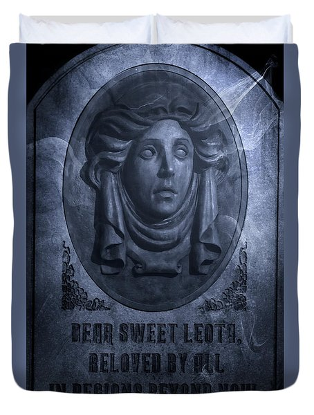 Duvet Cover featuring the photograph The Headstone Of Madame Leota by Mark Andrew Thomas