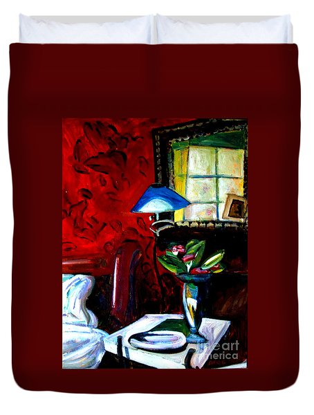 Duvet Cover featuring the painting The Healing Room by Charlie Spear