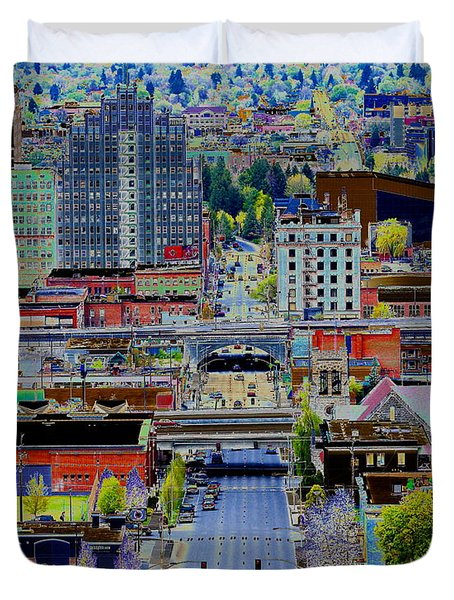 The Heart Of Downtown Spokane  Duvet Cover