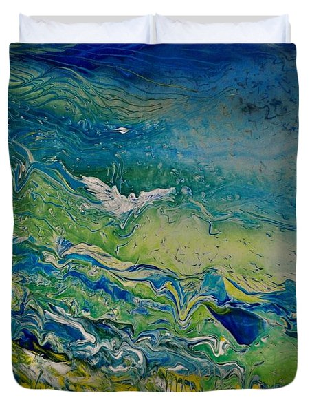 Duvet Cover featuring the painting The Heavens And The Eart by Deborah Nell