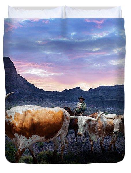 Texas Longhorns Blue Duvet Cover