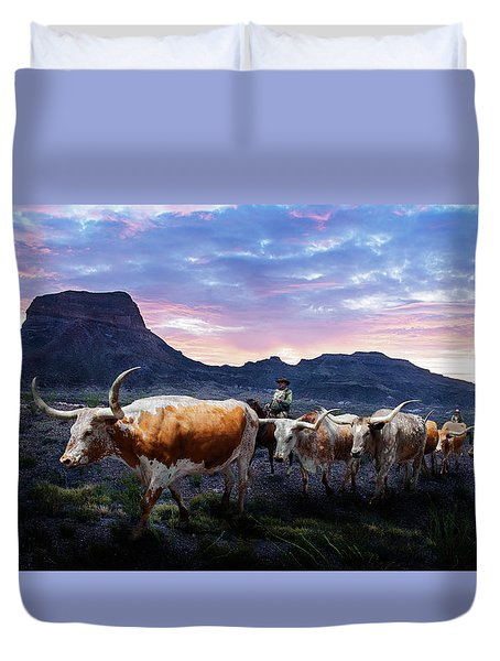 Texas Longhorns Blue Duvet Cover
