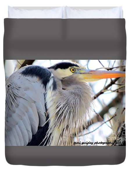 The Heron In Winter  Duvet Cover