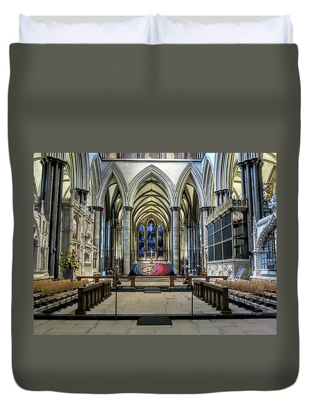 The High Altar In Salisbury Cathedral Duvet Cover