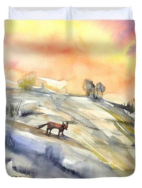 The Hill Of The Foxes Duvet Cover