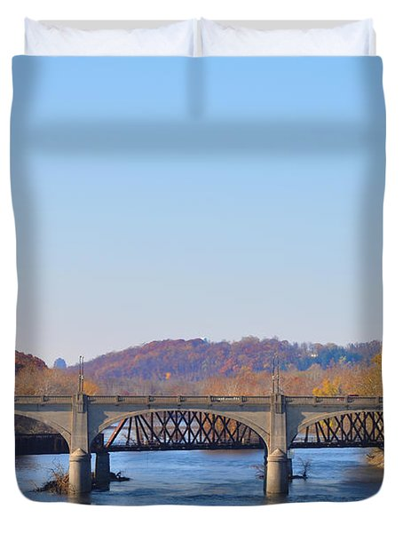The Hill To Hill Bridge - Bethlehem Pa Duvet Cover by Bill Cannon