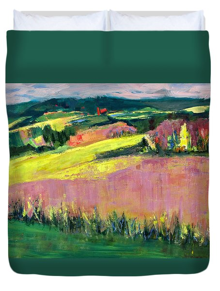 Duvet Cover featuring the painting The Hills Are Alive by Betty Pieper