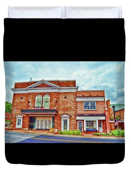 Duvet Cover featuring the photograph The Historic Wayne Theatre - Waynesboro Virginia - Art Of The Small Town by Kerri Farley
