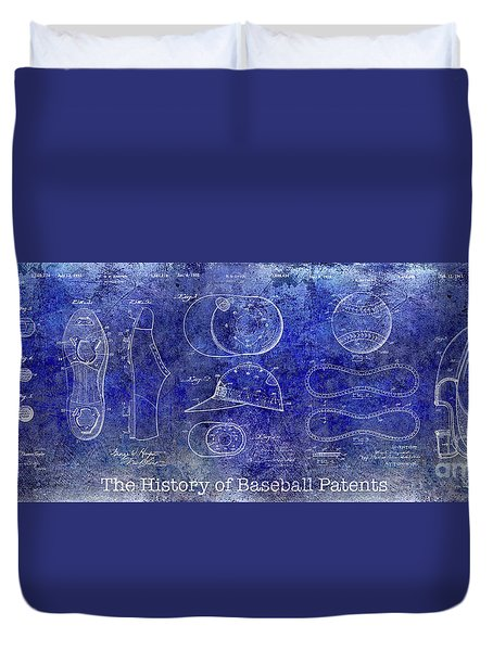 The History Of Baseball Patents Blue Duvet Cover by Jon Neidert