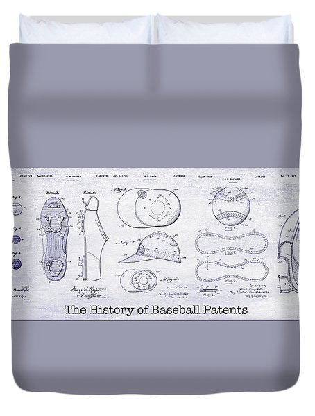 The History Of Baseball Patents Blueprint Duvet Cover by Jon Neidert