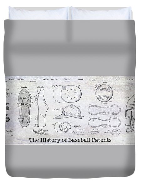 The History Of Baseball Patents Duvet Cover by Jon Neidert