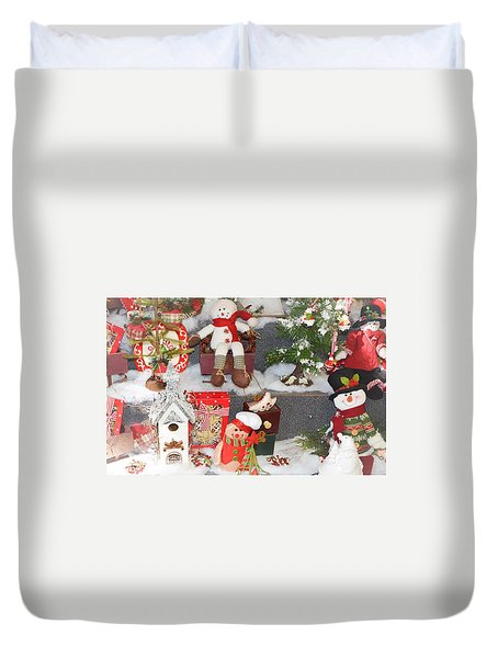 The Holiday Snowman Party Duvet Cover