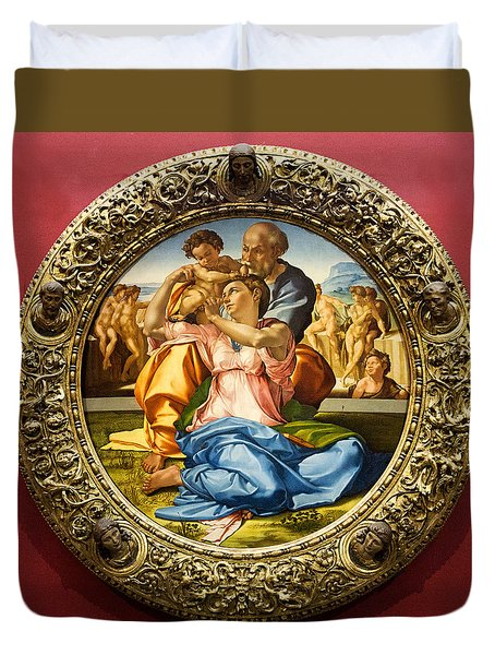 The Holy Family - Doni Tondo - Michelangelo Duvet Cover