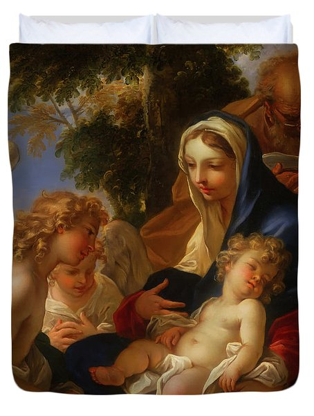 Duvet Cover featuring the painting The Holy Family With Angels by Seastiano Ricci