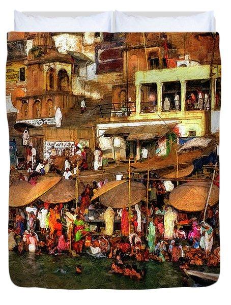 The Holy Ganges Impasto Duvet Cover by Steve Harrington
