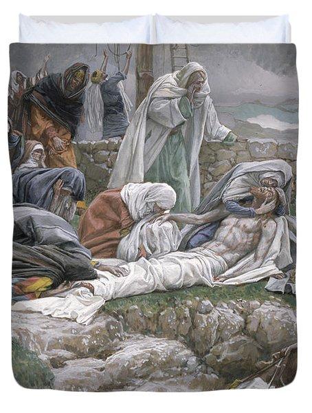 The Holy Virgin Receives The Body Of Jesus Duvet Cover
