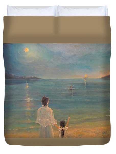 Duvet Cover featuring the painting The Homecoming by Donna Tucker